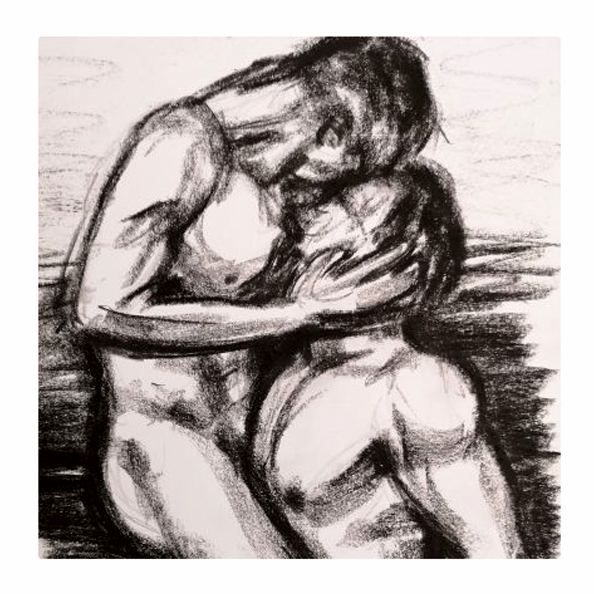 Closeness - Original charcoal drawing of a homosexual nude couple embracing. Original art by Gilly Ridge.