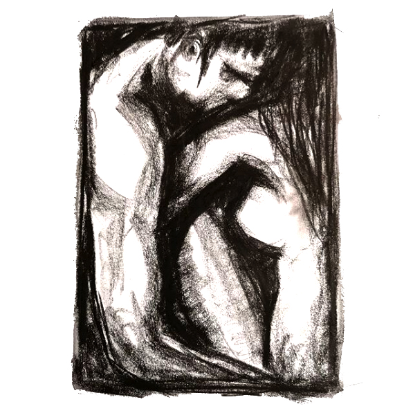 Comfort - Charcoal drawing of a nude hetrosexual couple embracing. Original Art by Gilly Ridge.