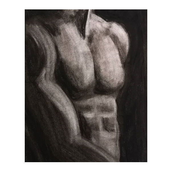 Determined - original charcoal drawing showing a male model's torso.  Original art by Gilly Ridge.