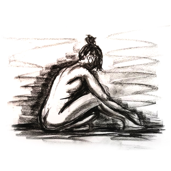 Solitary - Original Charcoal drawing of a female nude life model siting on the floor. Original art by Gilly Ridge.