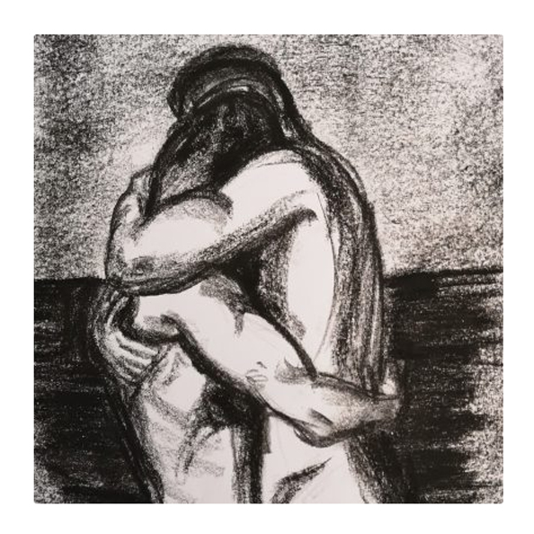 Strength - original charcoal drawing of a homosexual couple embracing. Original art from Gilly Ridge.
