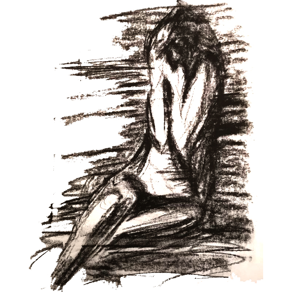 Too Much - charcoal drawing of a female life model with head in her hands. Original art by Gilly Ridge.