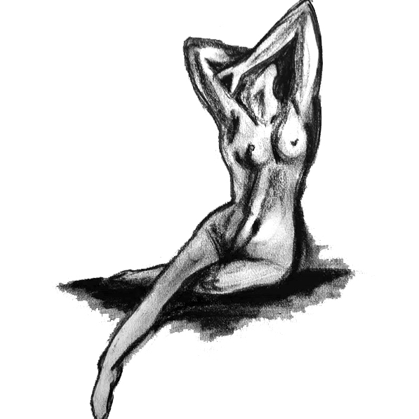 Waking - charcoal drawing of a female nude life model. Original art by Gilly Ridge.
