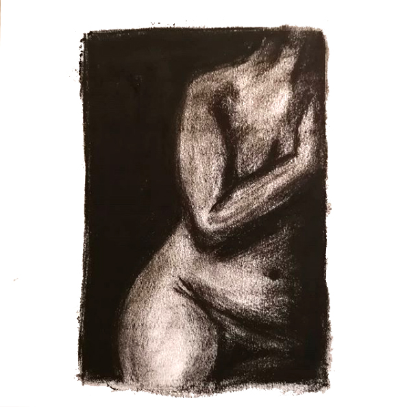 Woman - Original Charcoal drawing of a female nude life model leaning on a wall. Original art from Gilly Ridge.