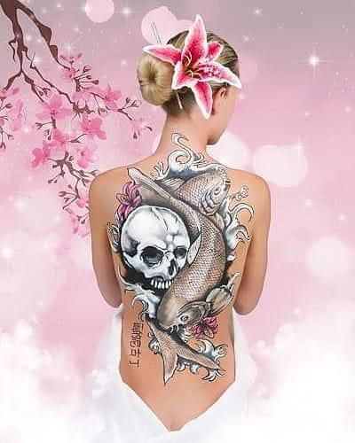Japanese tattoo inspired body painting. Created for Lets Pose Studios