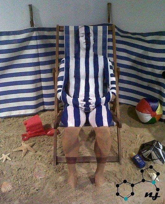 Deck Chair Camouflage body painting. Created for Truro College open day.