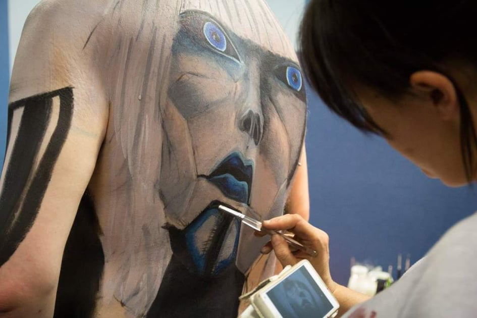 Robot body painting created at the Prosthetics event.