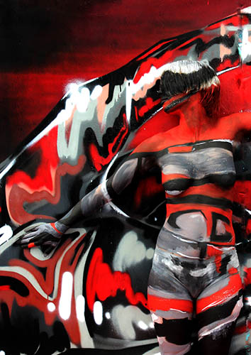 Graffiti Camouflage body painting. Created for the Cornwall Tattoo Convention.